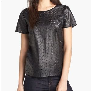 Ella Moss Perforated Faux Leather Tee h654